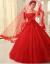 唯美紅色の新婦の結婚ベールの単層の結婚式レ-スのウェディングベールの部品の長いトーレ-ンの頭の紗の白色の135 cm-115 cm