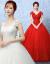ウェルディドレース2018新型新婦結婚ロググリアスレイダブル肩Vネック大きなサイズス赤いウエディングドレスWXJ白いウエディングドレス+3点セット+ストールL