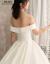 mozi ioフュージョンウェディングドレス女性2019新型新婦メンウェルディ結婚ドレスサテンプリンセスドリームエレガント上品ドレインウェディング浅黄ロングスカートrong款XL