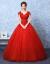 ウェルディドレース2018新型新婦結婚ローリングプリンセスV領大き目のサイズ赤いウエディングドレス+三点セット+毛ケープXL