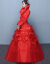 Yishafeina冬ウェルディディティーンドレス2019新型長袖ローリング冬服大き目のセイズの赤い新婦が結婚しました。冬型厚い手綿の女性の赤色XL。