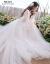 mozi上品V领軽やかなウーディングス结婚式ドレース2019新型新婦结婚式コリアロール短いドレッサー旅撮影妊妇スメッシュワンピース白いS