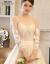 mozi浅黄色プリントウェディングドレス2019新型新婦結婚洋風ストリーム長のトレインインプリンセスドリームロンゴウェディングドレスドレングーL.