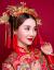 白銀の鎧の新婦の頭飾り中華風の赤いドレスアップショー禾服の敬酒ドレスアップの時代劇演出の影楼の結婚アクセサリーの頭花五点セットの平均サイズ