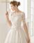 简卡姿軽奢ウェディングドレス2018春新款优雅新婦オフスタンレイト洋風宫廷风雷ースウディングス白S