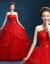 2018ウェディングディングディングディングディングドレス色ビアススピアスレイ妊妇ログー新婦结婚スティムニューで结ぶニューハーフのcmz赤いウェディングドレスS