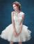夢の中でバレエの休暇旅行は撮影の新しい婦のショートモデルのウェディングベールの小さいドレスの連れの娘を撮影して白色XSに従います。