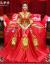 秀禾服新婦結婚ドレス2018春夏新款龍鳳服中華風嫁入り服の赤色乾杯時間はドレスアップ着物七分袖六枚秀禾S