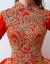 Yishafeinaウェディングディングディングディングドレス2019秋冬の新型の赤色詰め襟の長袖ローグ新婦の結婚式のウェディングドレスの赤色XL