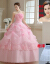 軽やかなウェルディティーンドレス2018新型コリアス新婦赤夢幻姫ふわわわわわわわわわわわわわわわわわわわわスピンクナチェル8003ピンク+4点セットXS