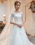 长いドレンウェディングドレス2019新款コリアレル新婦オフルプリンセスドリーム中袖ローリング春紐で150 cm S