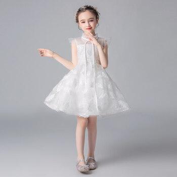 诞生日プリンセススカートピアノ出演服司会夜ドレスペペペペ-ジガルウェディングベール蓬纱夏白100 cm