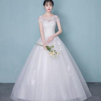 ウェルディドレース白纱ちびっこ2019新型コリアスタファッション新婦シングルスウエディングドレスL