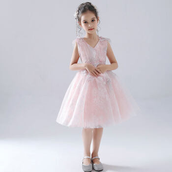 ピンクの王女のスカートの蓬の紗のウェディングベールの小さい女性の子供の誕生日はピアノ人の遅いドレスピンクの短い金の100 cmを主宰します。