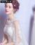 F&Gブランドの女装オフスタンウエディングドレス女性2019夏新型ふわわナチ新妇の纯色长いトレイン軽纽で结ぶドレース女性の白さがXXLを大きくします。