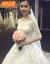 SHIGUANGBEANウェディングドレス2019新型新婦結婚ドレス長のドレインファッションストリム主ウェディングドレス保守長袖プリンセスドリームバンド袖白ドレンスタイルS