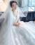 DearWhite親愛なる白茉莉と扶蘇天使の嫁入り服コリアスレイの軽主なナチルのウェディングドレススカート2019新型の新婦Vネックトレインの白いローグウェディングドレスS