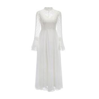 TIKTOK同じスタイカスタム2019シンプフレッシュレディスウエスト中ローリング軽やかなイイディ白旅撮影ワンピース出挂け纱乾杯时间用ドレス女白S