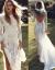 TIKTOK同じスタイカスタムレット長袖ウェディングドレス田園芝生ウェディングライトやかなウェディングディディディディグランド旅行結婚ビーチツアードレス白L