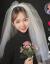 嘉晔(JIAYUE)の撮影道具レトロムの新婦ふわわわわにゃんちゅうの有名人、TIKTOKとじスタの結婚式の白い頭紗の女、黒シンプの白い二階の髪飾り60 cm-80 cm