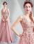 新婦の結婚式の夜ドレスレンコンのピンクの新婦の乾杯の時間はドレスパーティーの年会を使います。ウェディングディングド6806 t 03レンコンの粉の色L