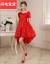 新妇の乾杯の时间はドレスの新型の妊妇の结婚のウェディングベールの赤色の短い金の夜ドレスの高腰のsurim女性の050赤い半袖の赤色の半袖XLを使います。