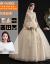 主なウェディングドレス2019新型のゴージャスドレインシャンパンの色レプトロ長袖シングルグ冬のシャンパンの色ローグモデル「ウェディングと9点セット」M