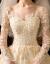 妊婦は軽い主のウェディングドレス2020新型の新婦の長袖シャンパンの色トレインのハプ本ふわわわわずずの女性の品質を着て、ホワイトロングの「ウェディングドレス+三点セット」Lを注文します。