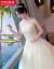 Hongzhuang Bi Schee主ウェルディーディー2020新型コリアスターリングプリンセス新婦の軽紗女ナチェのウェディングドレスのロンライトシャンパンのローグモデルM